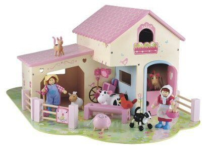 ELC wooden pink toy farm aimed at girls 3 years