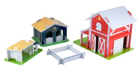 Four big colourful wooden toy farm buildings with fencing