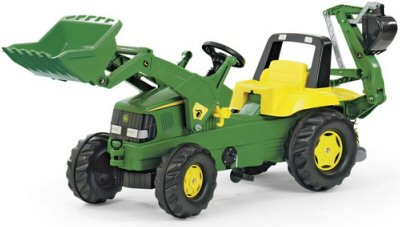 Ride-on tractor with front loader and excavator