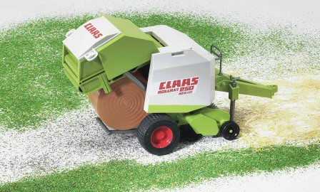 Rolling out the hay with toy balers with this Bruder Claas baler