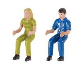 Set of two Siku drivers in green and blue overalls